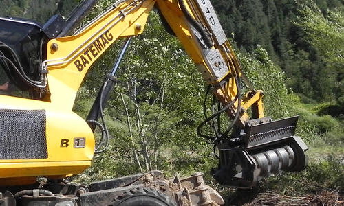 Midi forestry mower for spider excavator